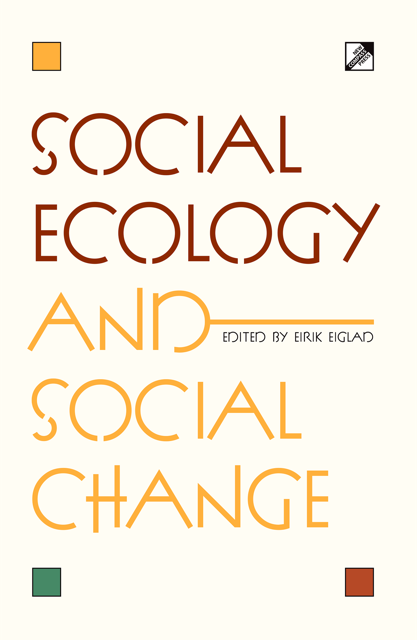 Frontpage of Social Ecology and Social Change book