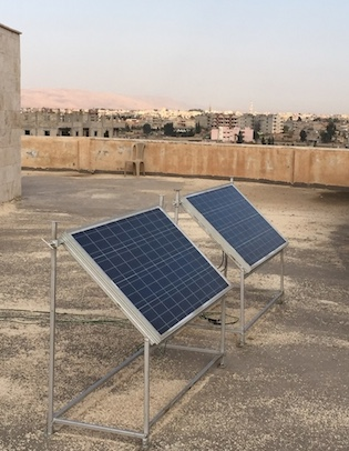 Solar panels atop the Mesopotamian Academy in Qamislo