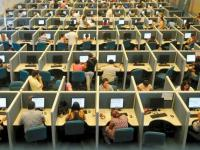 Rows of desks at a call center