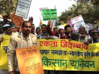 Farmers and trade unions protesting against the EU India free trade agreement