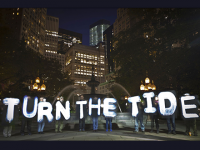 Turn the Tide light protest