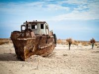 Abandoned ship in the Aral Sea.