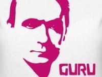 """T shirt design motive of Rudolf Steiner reading """"Guru"""""""