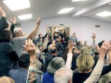 Citizens in Lancaster County, Pennsylvania, express support for an ordinance opposing pipelines. Photo: Lancaster Against Pipelines