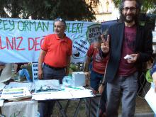 protest stand in Istanbul