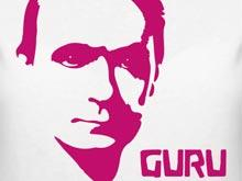 "T shirt design motive of Rudolf Steiner reading ""Guru"""
